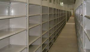 shelving_metal shelves with high-rise posts