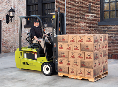 Clark GTX16-20 3-wheel electric forklift solid pneumatic tires