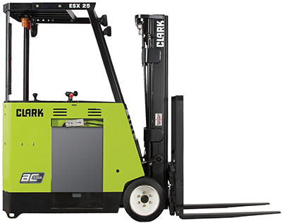 Clark_ESX17_counterbalanced_stand-up_truck_cushion tires_AC electric_2,500-5,000lbs_36 or 48 volt_clipped