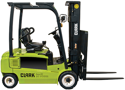 3,200-4,000 lb. electric solid pneumatic tires Clark forklift clipped image