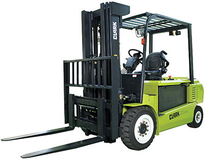 Clark 10,000 lb electric forklift solid pneumatic tires clipped image